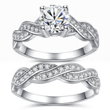 MABELLA 925 Sterling Silver Matching Bridal Set Wedding Engagement Rings CZ Eternity Ring for Women