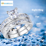 MABELLA Sterling Silver Princess Cut CZ Engagement Ring Wedding Band Set For Women