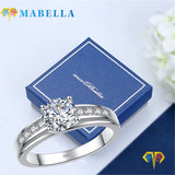 MABELLA Solid 925 Sterling Silver Solitaire Round CZ Cubic Zirconia Engagement Ring for Women
