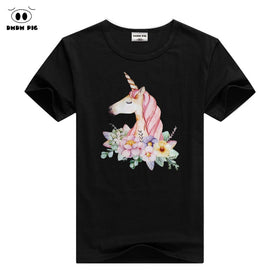 c70340562de4 PIG Unicorn Tshirt Girls Short Sleeve T-Shirts For Girls Tops Tee Children  T Shirts
