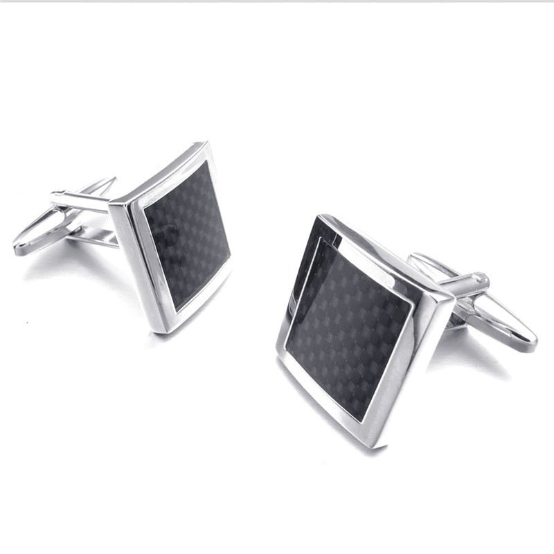 Carbon Fibre And Silver Cufflinks