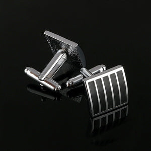 Simple Black And Silver Cufflinks