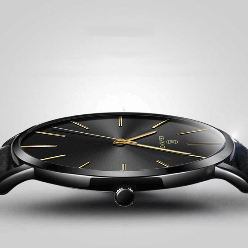 Simpe Ultra Thin Wristwatch With Leather Strap