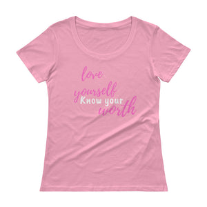 Love Yourself Know Your Worth Tee (pink/white font)