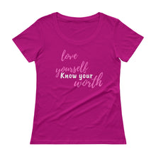 Load image into Gallery viewer, Love Yourself Know Your Worth Tee (pink/white font)