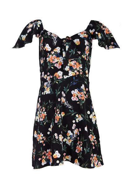 Aimée Tie Front Short Sleeve Mini Dress - Fleur & Sonnet