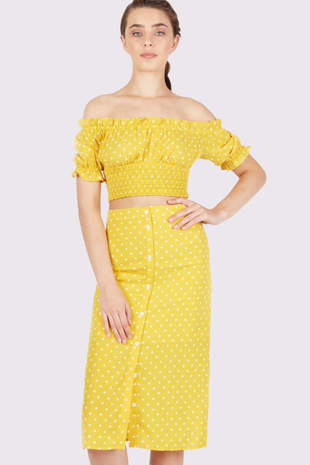 Peyton Smocked Off the Shoulder Cropped Top - Fleur & Sonnet