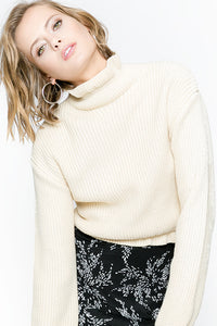 Alexandrie Long Sleeve Cropped Turtleneck Sweater - Fleur & Sonnet