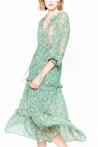 Hélène Tiered Long Sleeve Ruffle Maxi Dress - Fleur & Sonnet