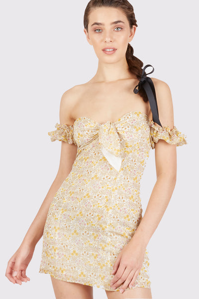 Athena Tie Front Off the Shoulder Mini Dress - Fleur & Sonnet