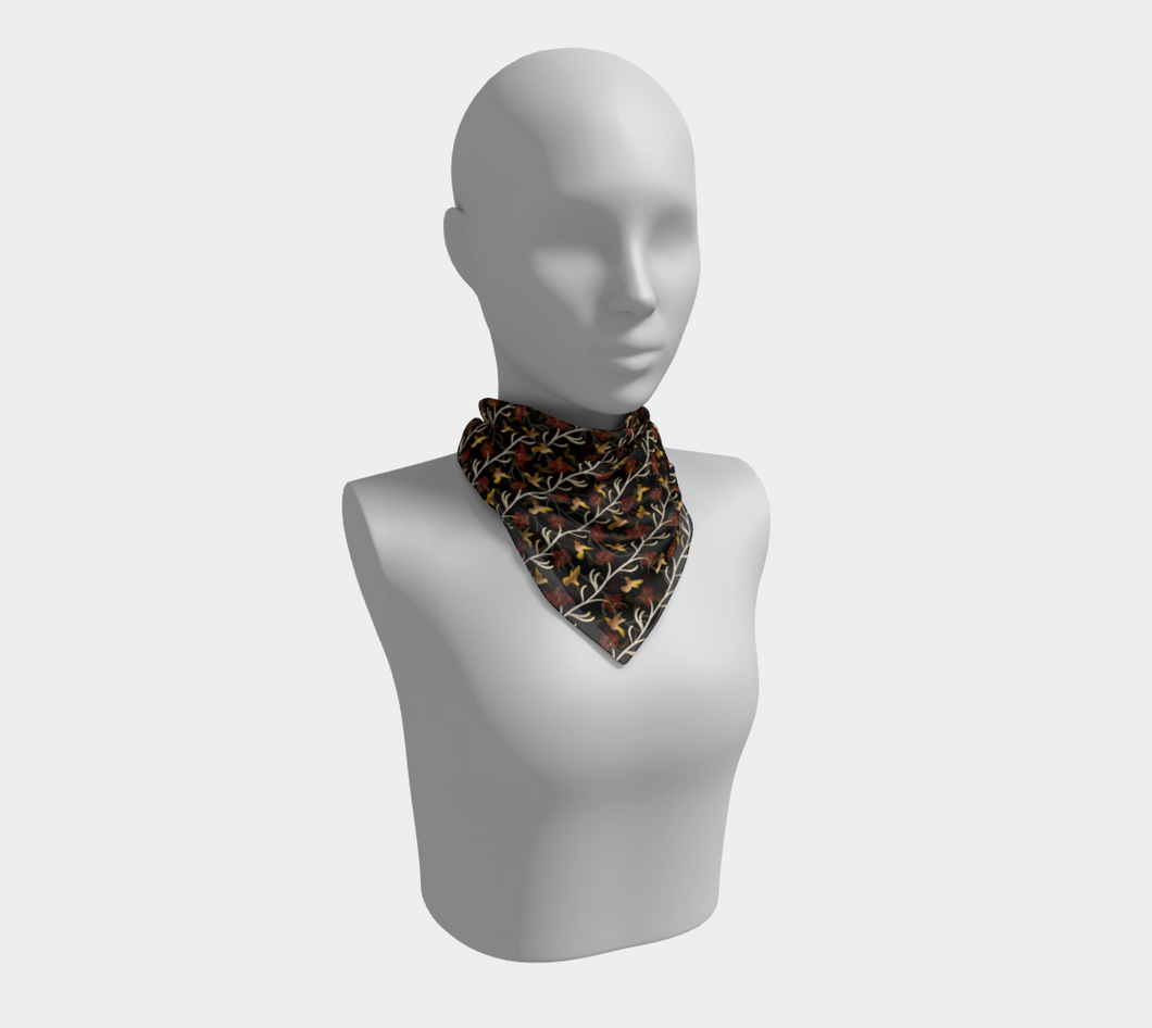 Square Scarf - Lei with me (Noire), neck, Bohemian Haven LLC., Bohemian Haven LLC.