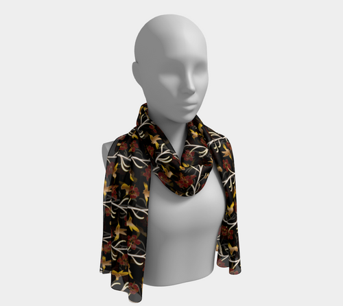 Long Scarf - Lei with me (Noire), neck, Bohemian Haven LLC., Bohemian Haven LLC.
