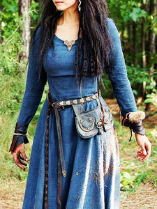 Classic Waisted Medieval Dress BLUE L