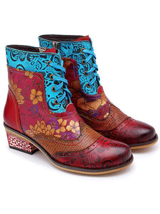 Bohemia Vintage Embossing Bandage Mid Boots RED 36