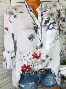 Fashion V-neck Floral Long Sleeves Blouses\u0026shirts Tops WHITE S