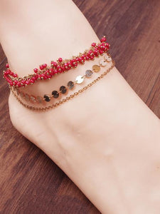 Bohemia Wafer Footchain Accessories RED 1 PCS