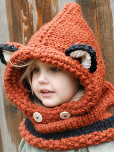 Knitted Fox Featured Warmer Hat GRAY SMALL SIZE