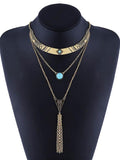 Bohemia Multilayer Turquoise Tassels Necklaces Accessories GOLD