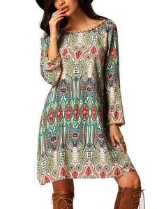 Beautiful Bohemia Long Sleeve Round Neck Mini Dress S(Bust34.6 Waist31.8)
