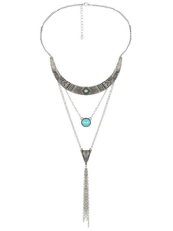 Bohemia Multilayer Turquoise Tassels Necklaces Accessories SLIVER