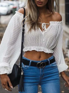 Off-the-shoulder Ruffled Long Sleeves Tops WHITE S