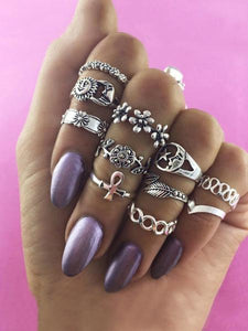 11pcs Vintage Carved Rings Accessories SILVER 11 PCS\/ 1 SET