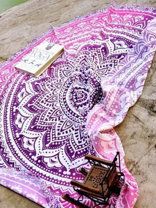 Pretty Bohemia Floral Round Shawl Beach Mat PURPLE
