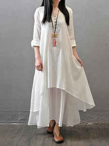Loose Solid Color 3\/4 Sleeve Round Neck Maxi Dress WHITE M