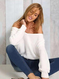 Solid Color Asymmetric V-neck Loose Sweater Tops WHITE S