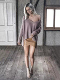 Solid Color Asymmetric V-neck Loose Sweater Tops WHITE L