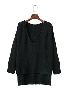 Solid Color Asymmetric V-neck Loose Sweater Tops GRAY L