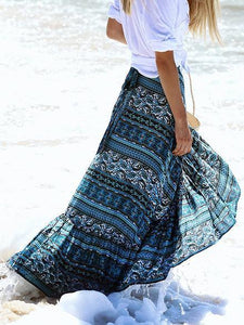 Bohemia Floral-Printed Split-side Beach Skirt Bottoms BLUE