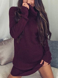 Solid Color Long Sleeve High Collar Sweater Tops WINE S