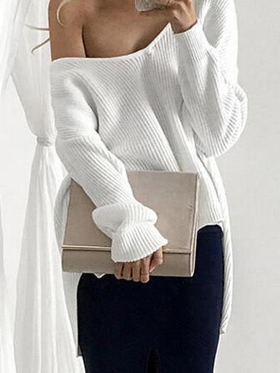 Solid Color Asymmetric V-neck Loose Sweater Tops PINK M