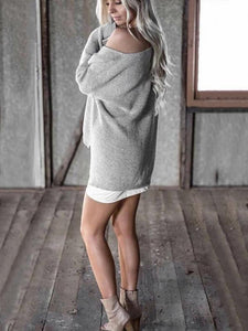 Solid Color Asymmetric V-neck Loose Sweater Tops GRAY S