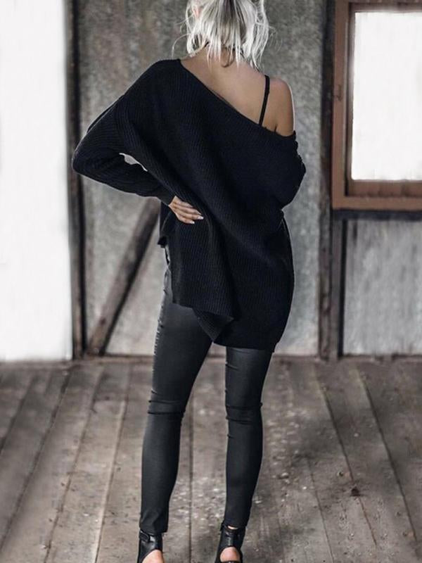 Solid Color Asymmetric V-neck Loose Sweater Tops GRAY M