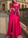 Fashion Solid Color Lapel-neck Floor Maxi Dress ROSE-RED XL