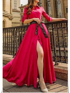 Fashion Solid Color Lapel-neck Floor Maxi Dress ROSE-RED S