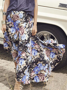 Vintage Floral-Printed Bohemia Skirt Bottoms BLACK