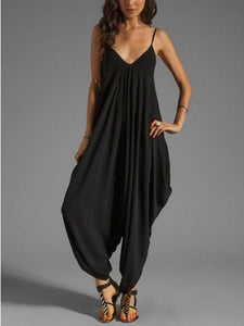 10 Colors Spagetti-neck Loose Long Jumpsuits BLACK S