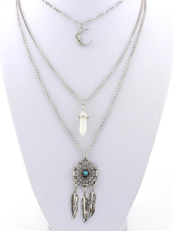 Tasselled Feather Alloy\u0026Stone Necklaces Accessories BLUE