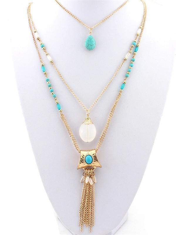 Bohemia Tasseled Alloy\u0026Turquoise Necklaces Accessories GOLD