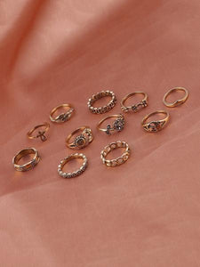 11pcs Vintage Carved Rings Accessories GOLD 11 PCS\/ 1 SET