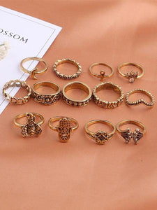 13pcs Vintage Rings Accessories GOLD