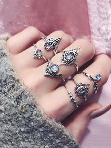 3 Sets 7pcs Vintage Carved Hollow Rings Accessories SILVER 7 PCS\/ 3 SET