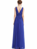 Pretty Deep V-Neck Sleeveless A Line Evening Dress WINE XL