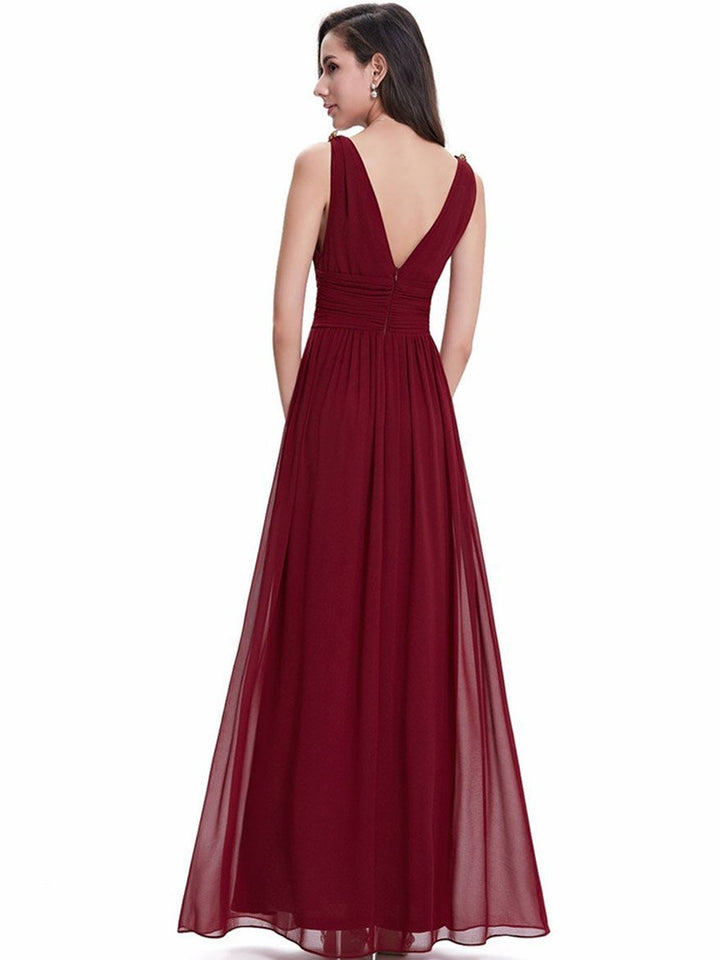 Pretty Deep V-Neck Sleeveless A Line Evening Dress WINE L