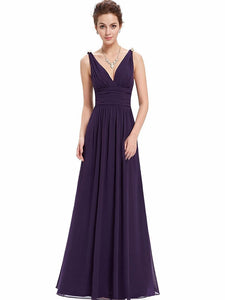 Pretty Deep V-Neck Sleeveless A Line Evening Dress WINE S