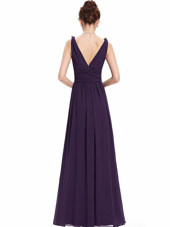Pretty Deep V-Neck Sleeveless A Line Evening Dress WINE M