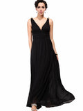 Pretty Deep V-Neck Sleeveless A Line Evening Dress DARK PURPLE S